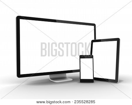 Lcd Monitor Tablet Pc And Mobile Phone 3d Illustration Isolated On White Background