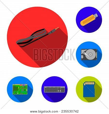 Personal Computer Flat Icons In Set Collection For Design. Equipment And Accessories Vector Symbol S