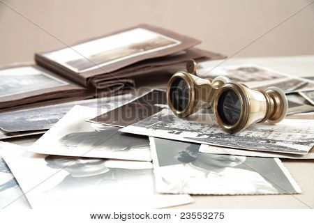 Opera-glasses and old photos.