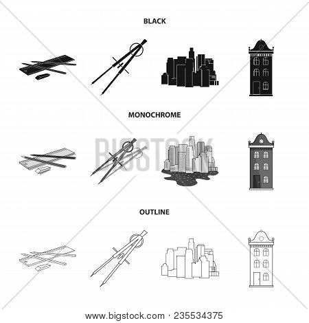 Drawing Accessories, Metropolis, House Model. Architecture Set Collection Icons In Black, Monochrome