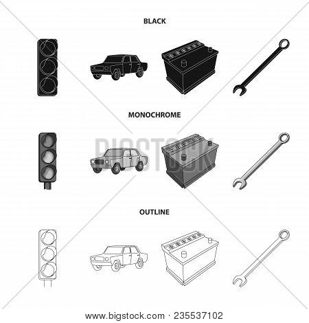 Traffic Light, Old Car, Battery, Wrench, Car Set Collection Icons In Black, Monochrome, Outline Styl