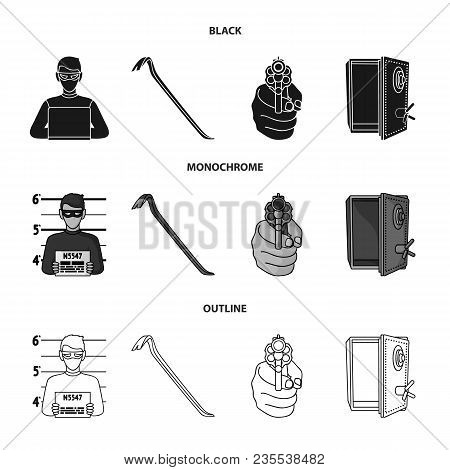 Photo Of Criminal, Scrap, Open Safe, Directional Gun.crime Set Collection Icons In Black, Monochrome