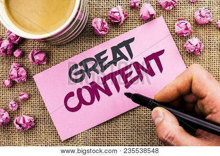 Conceptual Hand Writing Showing Great Content. Business Photo Text Excellent Information Valuable In