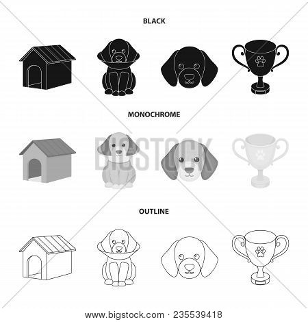 Dog House, Protective Collar, Dog Muzzle, Cup. Dog Set Collection Icons In Black, Monochrome, Outlin