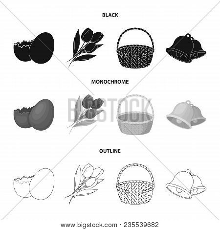 Chocolate Egg, Bells, Basket And Flowers.easter Set Collection Icons In Black, Monochrome, Outline S