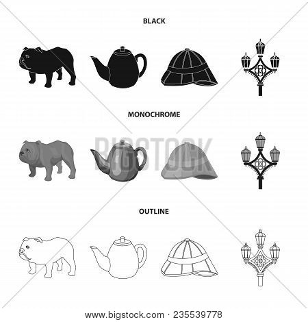 Breed Dog, Teapot, Brewer .england Country Set Collection Icons In Black, Monochrome, Outline Style