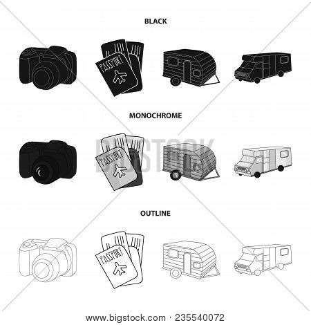 Vacation, Photo, Camera, Passport .family Holiday Set Collection Icons In Black, Monochrome, Outline