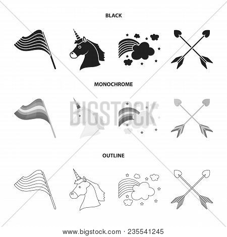 Flag, Unicorn Symbol, Arrows With Heart.gay Set Collection Icons In Black, Monochrome, Outline Style