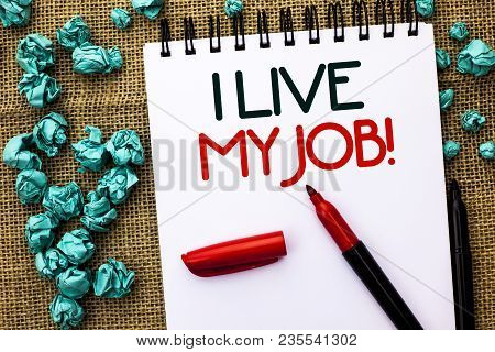 Writing Note Showing  I Live My Job Motivational Call. Business Photo Showcasing Be Immerse In And L