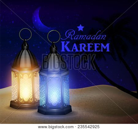 Blue Lanterns Stand In The Desert At Night Sky With Moon And Palm Silhouettes Vector