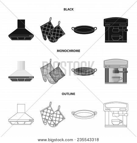 Kitchen Equipment Black, Monochrome, Outline Icons In Set Collection For Design. Kitchen And Accesso