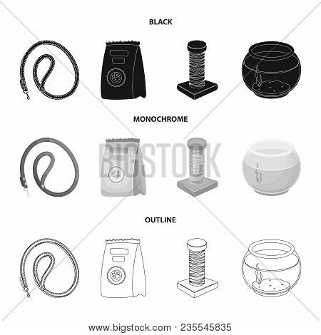 Leash, Feed And Other Zoo Store Products.pet Shop Set Collection Icons In Black, Monochrome, Outline