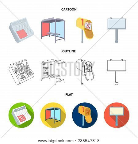 Newspapers, A Bus Stop, A Mail Box, A Billboard.advertising, Set Collection Icons In Cartoon, Outlin