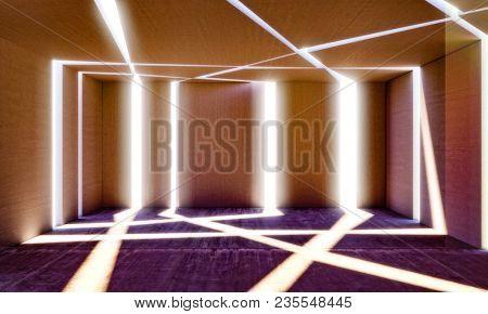 light ray indoor view of concrete room 3d rendering image