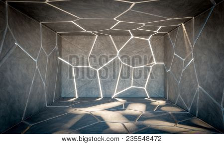 cracked abstract concrete room 3d rendering image
