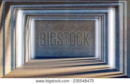 abstract concrete room 3d rendering image