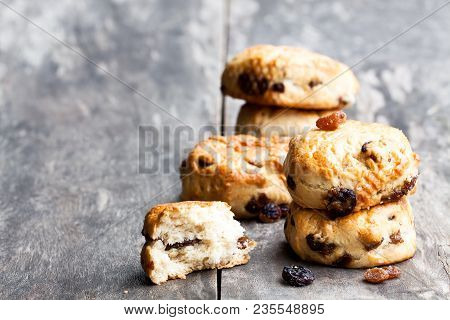 Homemade  Sultana Scones On Wooden Rustic  Table