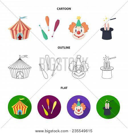 Circus Tent, Juggler Maces, Clown, Magician Hat.circus Set Collection Icons In Cartoon, Outline, Fla