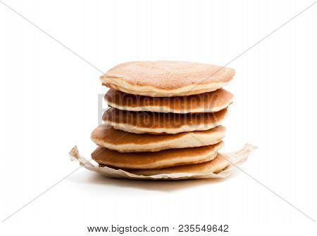 Stack  Of Scotch Pancakes Isolated On White