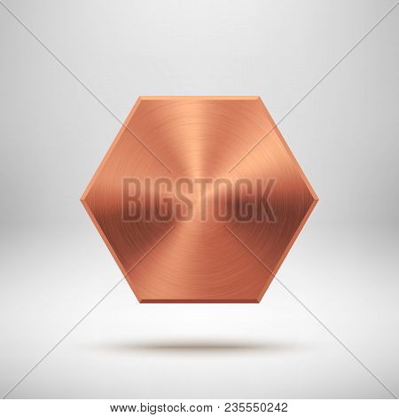 Bronze Abstract Polygon, Hex Badge, Technology Blank Button Template With Metal Texture, Chrome, Ste