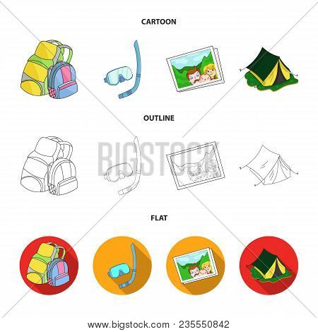 Travel, Vacation, Backpack, Luggage .family Holiday Set Collection Icons In Cartoon, Outline, Flat S