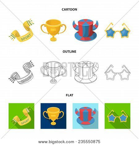 A Scarf, A Hat With Horns And Other Attributes Of The Fans.fans Set Collection Icons In Cartoon, Out