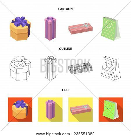 Gift Box With Bow, Gift Bag.gifts And Certificates Set Collection Icons In Cartoon, Outline, Flat St