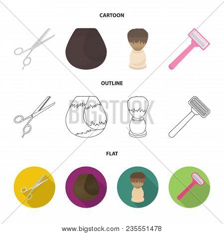 Scissors, Brush, Razor And Other Equipment. Hairdresser Set Collection Icons In Cartoon, Outline, Fl