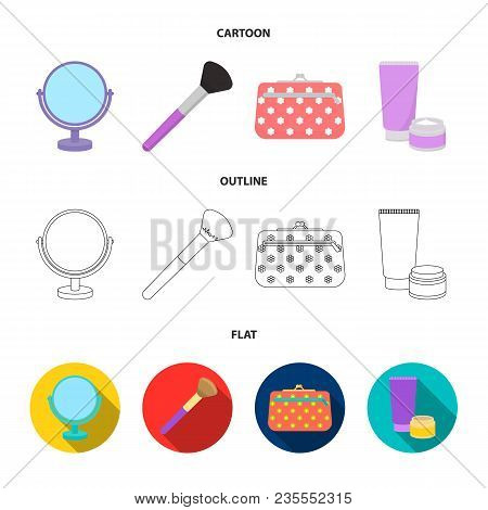 Table Mirror, Cosmetic Bag, Face Brush, Body Cream.makeup Set Collection Icons In Cartoon, Outline,