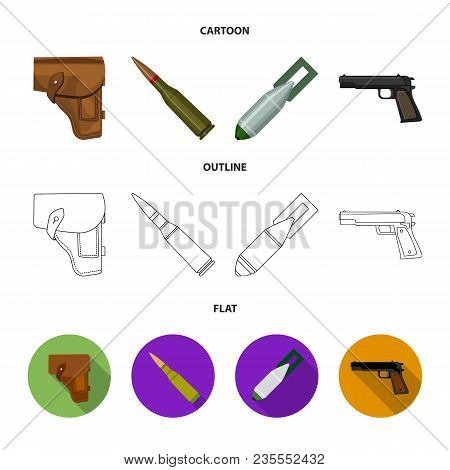 Holster, Cartridge, Air Bomb, Pistol. Military And Army Set Collection Icons In Cartoon, Outline, Fl