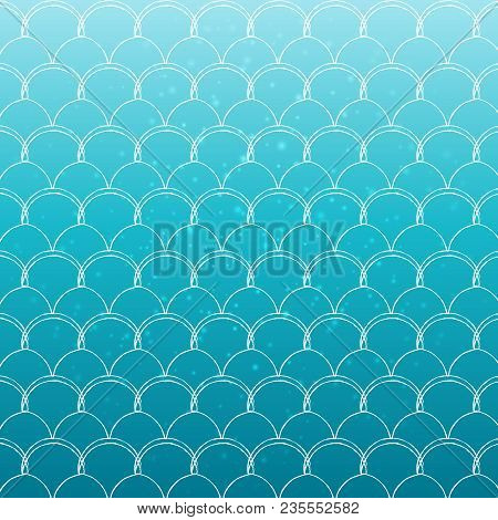 Mermaid Tail On Trendy Gradient Background. Square Backdrop With Mermaid Tail Ornament. Bright Color