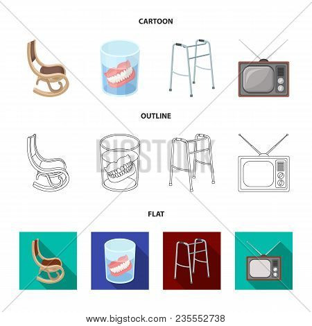 Denture, Rocking Chair, Walker, Old Tv.old Age Set Collection Icons In Cartoon, Outline, Flat Style