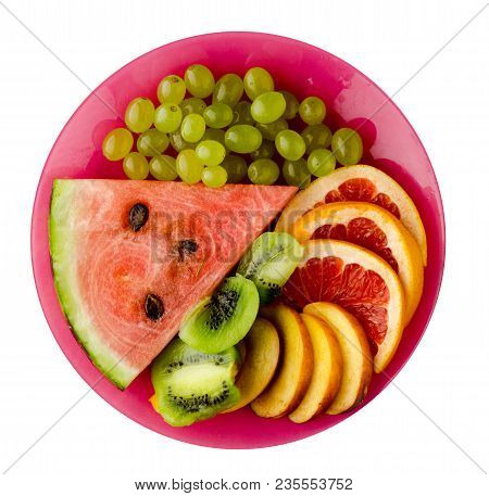 Sliced Fruit  Isolated On White Background. Sliced Fruit On A Plate