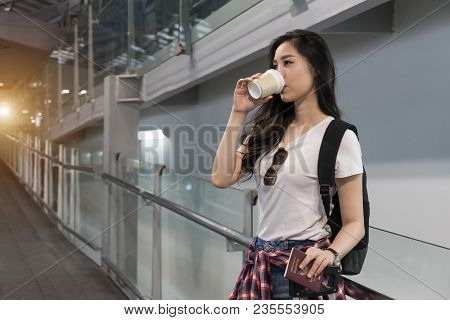 Beautiful Young Asian Woman Arrives Airport Early Morning Ready Going Aboard Foreign Country. Touris