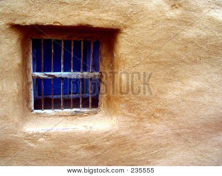 Blue  Window - Stone Wall