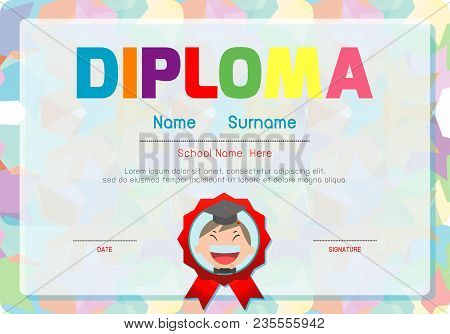 Certificates Kindergarten And Elementary, Preschool Kids Diploma Certificate Background Design Templ