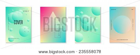 Holographic Fluid Set With Radial Circles. Geometric Shapes On Gradient Background. Modern Hipster T