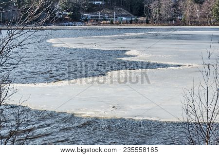 Ice Receding From A Lake In Michigan