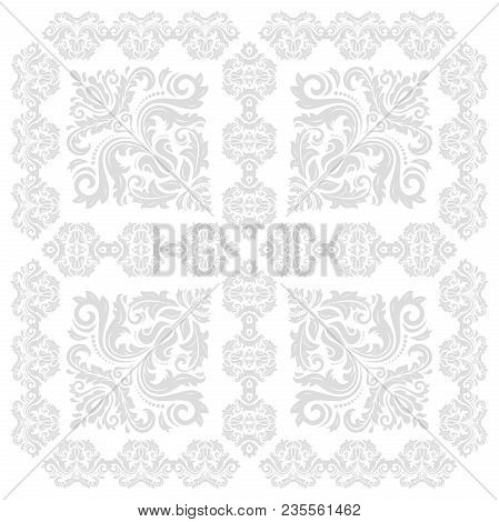 Classic Seamless Vector Silver Pattern. Damask Orient Ornament. Classic Vintage Background. Orient O