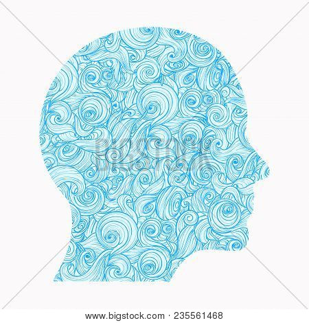 Thinking. The Contour Of The Human Head, Inside Of Which There Is A Pattern Of Interlocking Waves, S