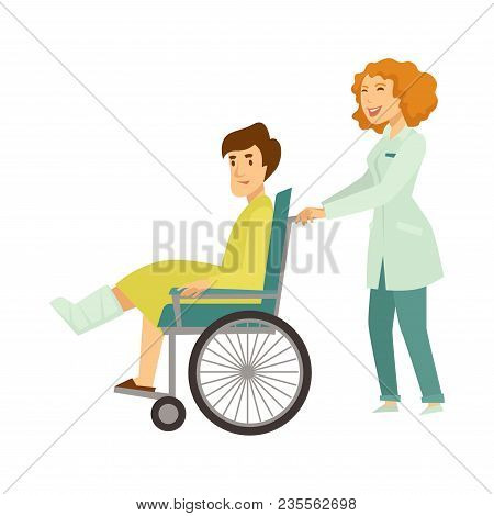 Nurse Helping Patient In Wheelchair With Broken Leg. Traumatologist Doctor Assistant Help To Patient