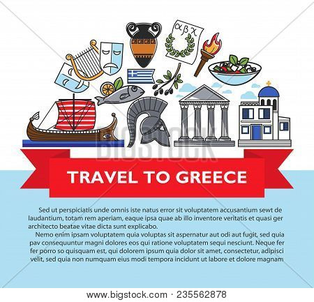 Greece Travel Poster Of Greek Culture Famous Sightseeing Landmarks And Attractions Icons. Vector Des