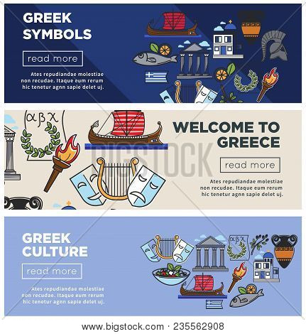 Greece Travel Web Banners Of Greek Famous Sightseeing Landmarks And Attractions Icons For Tourism Ag