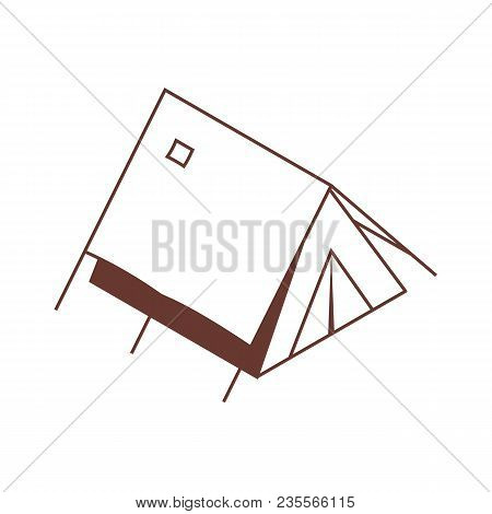 Isometric Camping Tent Icon In Line Art. Triangle Classic Tourist Tent In Isometry Style.