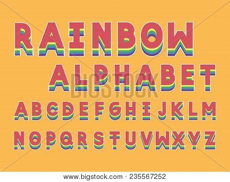 Rainbow  Bold Font. Vector Alphabet Letters. Typeface Design.