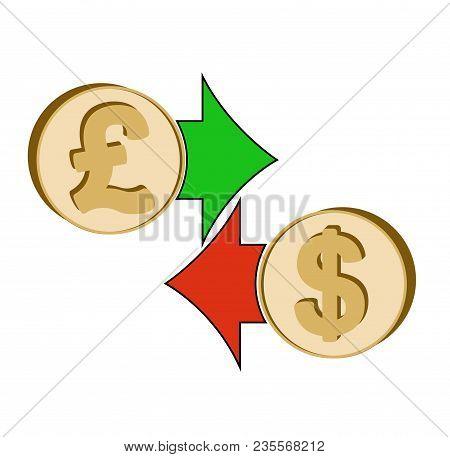 Exchange British Pound To Dollar , Design Concept ,  Coins British Pound And Dollar With Green And R