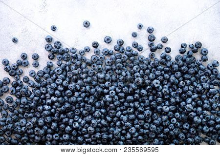 Texture Of Blueberry Berries Close Up. Border Design. Fresh Blueberries Background With Copy Space F