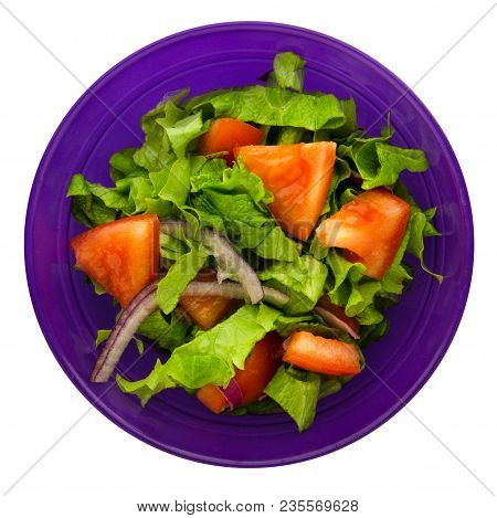Vegetarian Salad Of Tomato, Onions And Lettuce In A Salad Bowl Isolated On White Background. Salad T