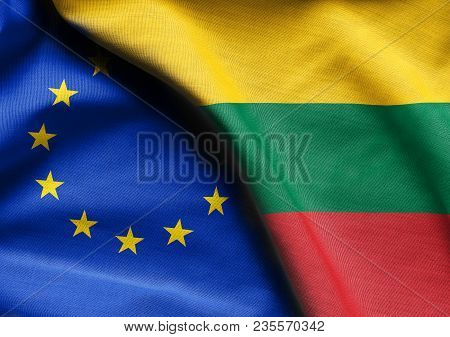 Fabric Flags Of Lithuania And European Union