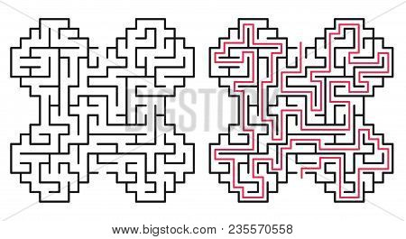 Abstract Maze / Labyrinth With Entry And Exit. Vector Labyrinth 229.